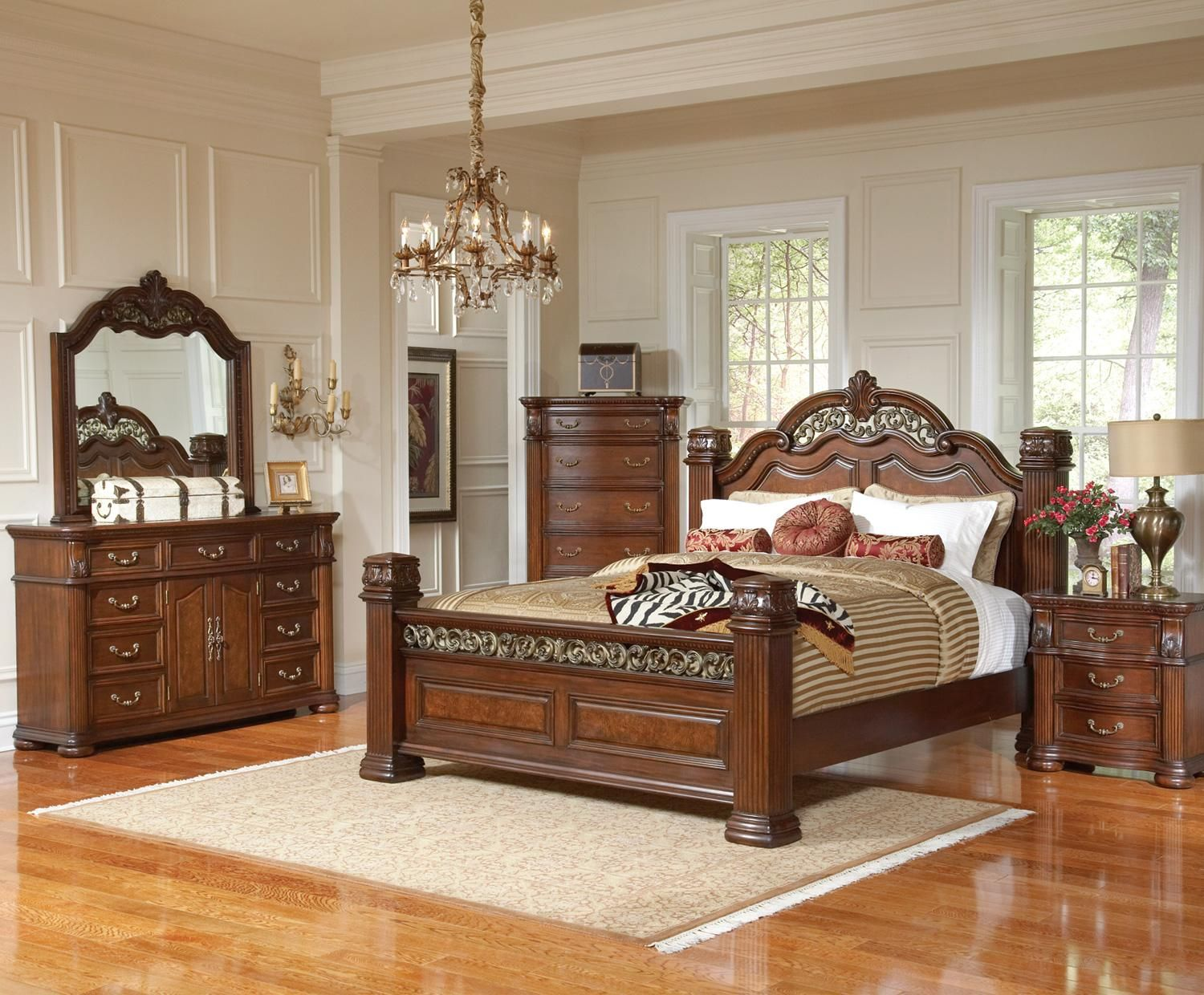 C201821KEset Dubarry King or Queen 4 pc Traditional Brown Bed ...