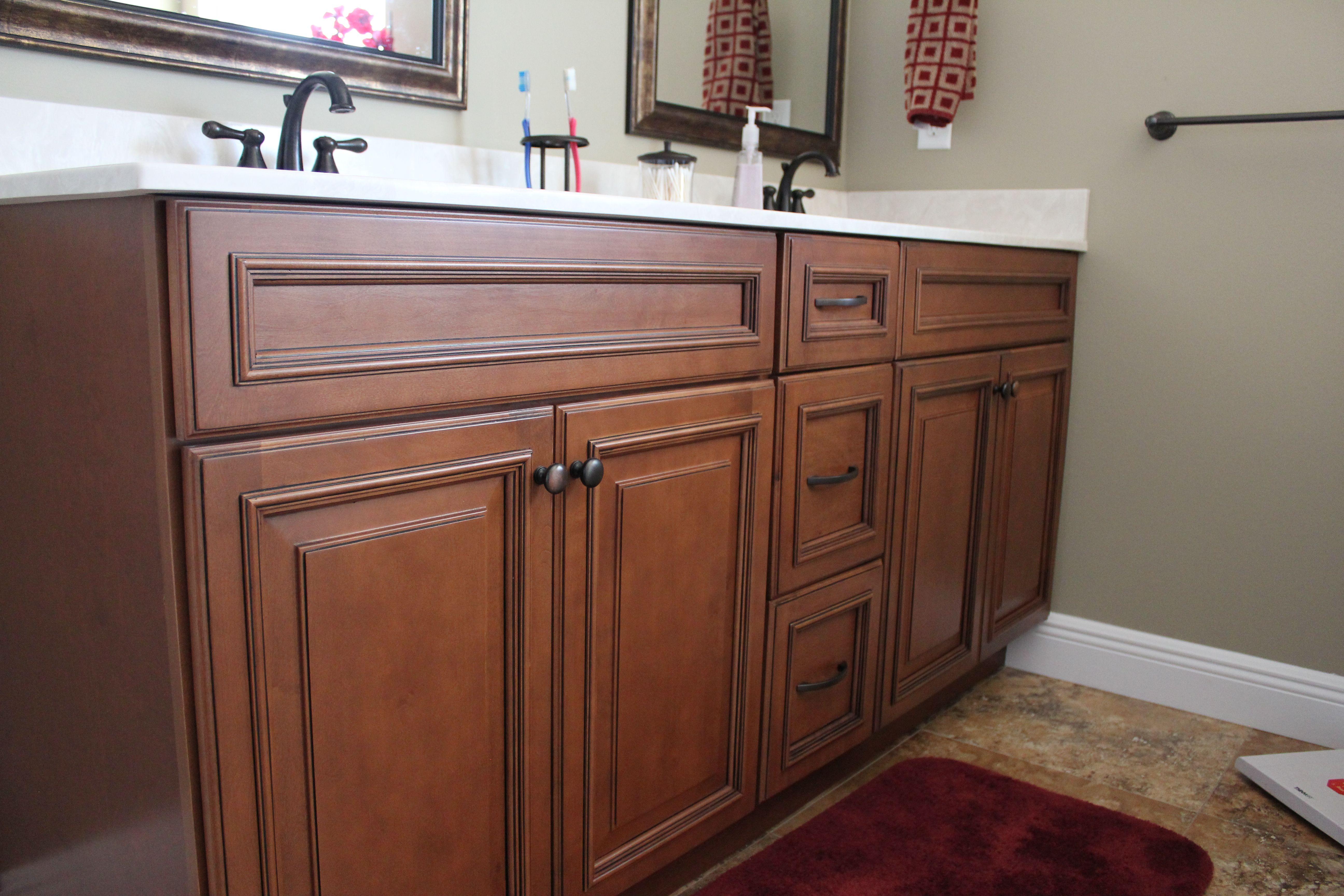 Fabuwood Cabinets, Bathroom Cabinetry, Cinnamon Glaze, Three Stack Vanity  Drawer, 3 Stack