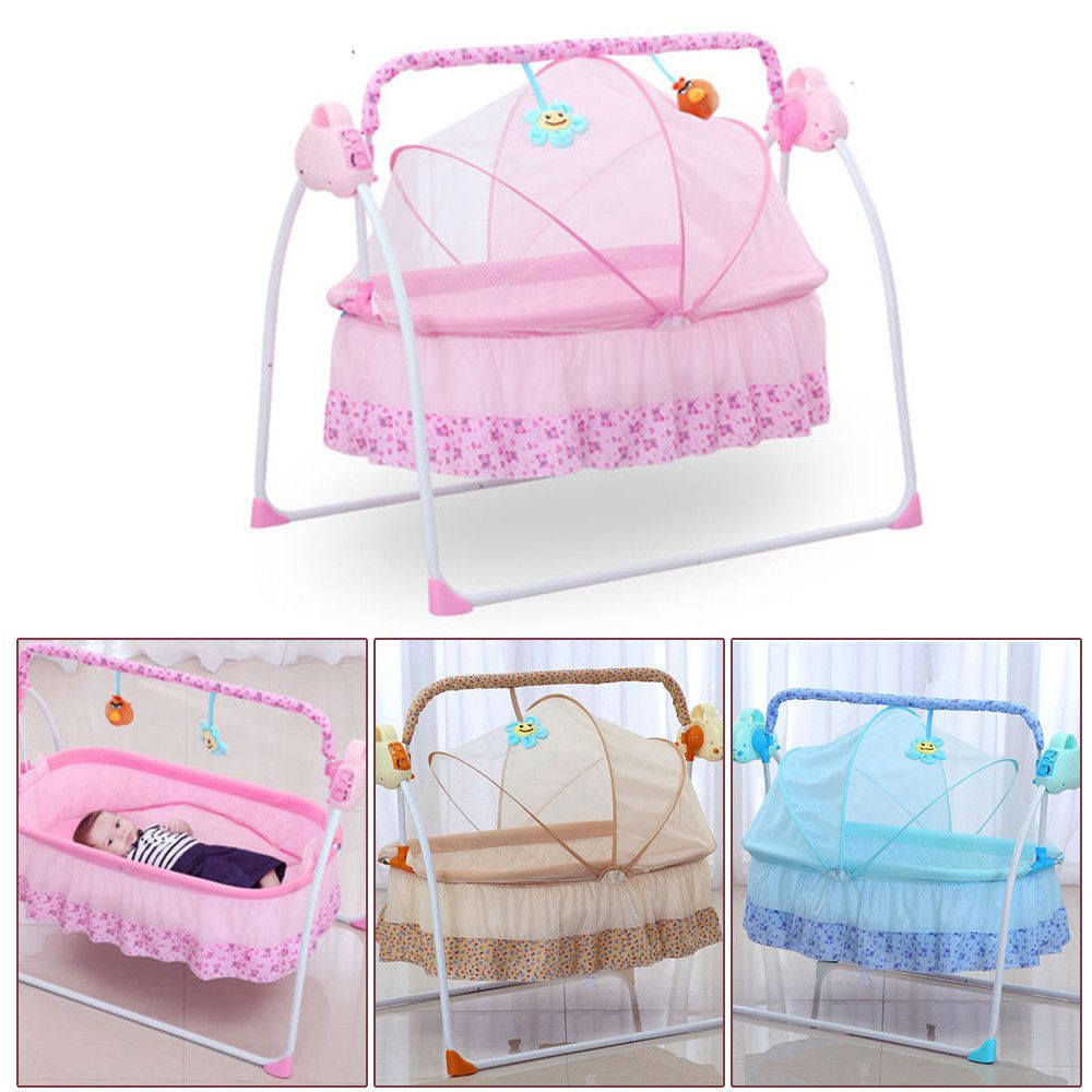 Electric Big Auto Swing Bed Baby Cradle Space Safe Crib Infant Rocker Cot Mat Baby Swing Crib Baby Cradle Baby Rocker