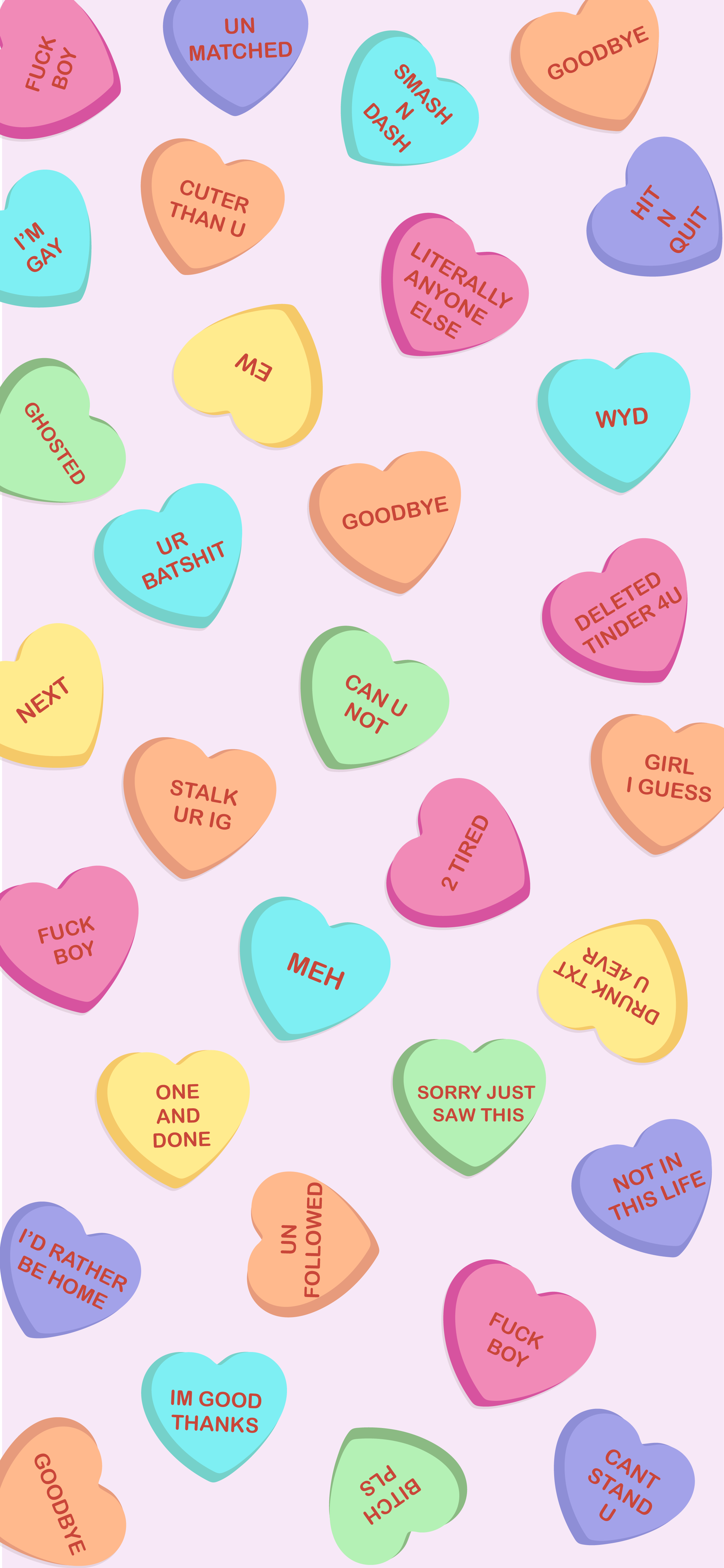 Millennial Candy Hearts Illustration Phone Wallpaper Heart Wallpaper Heart Illustration Pink Aesthetic