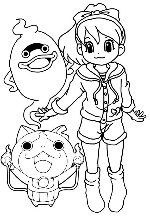 Yo Kai Watch Katie Jibanyan And Whisper Coloring Page Coloring Pages Kai Color