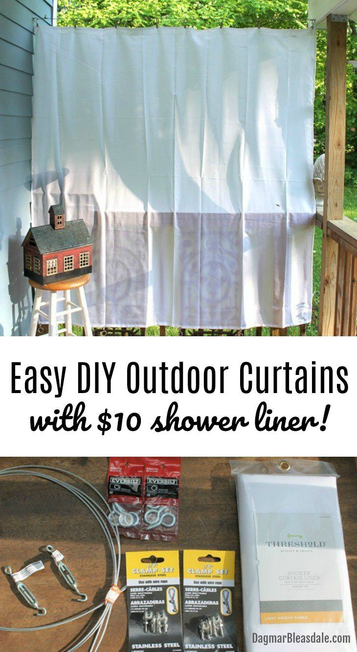 Diy Porch Curtains Made With 10 Shower Curtain Liners - Outdoor Vorhang Sichtschutz