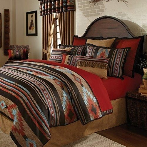 4 Piece Red Brown Southwest Comforter Full Set Native American