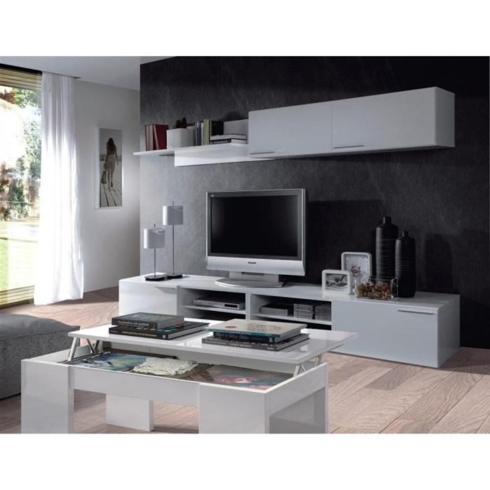001637bo Kendra Table Basse Blanche Plateau Relevable D Co  # Kikua Meuble Tv