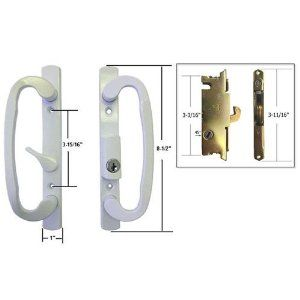 STB Sliding Glass Patio Door Handle Set With Mortise Lock, White, Keyed, 3