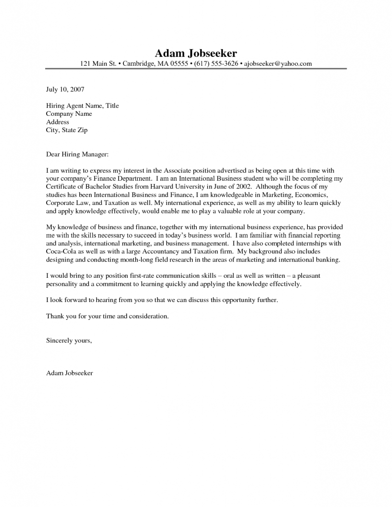 Cover Letter, Example Cover Letter For Internship With