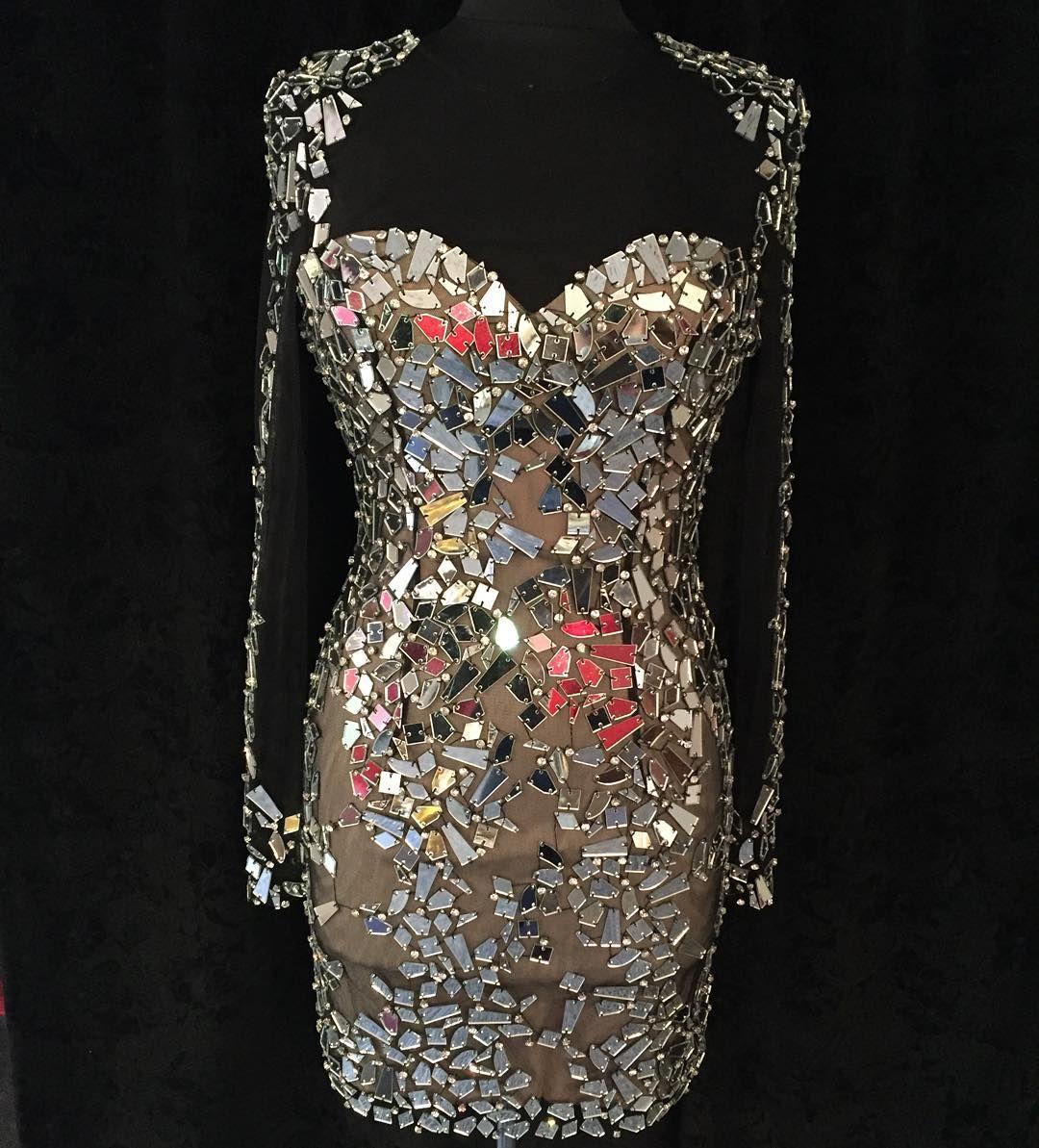 Gl Mirror Studded Dress By Versailles Brooklyn