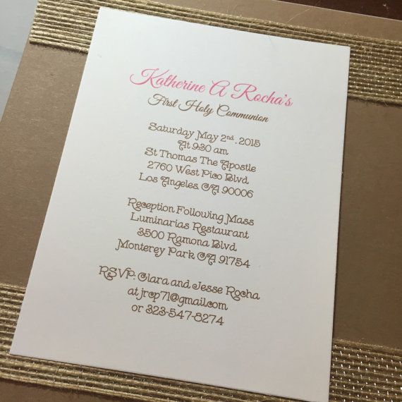 First Communion Invitations. Set of 10 by HandcraftedByW on Etsy