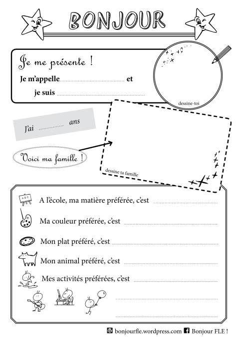 Template pour se présenter | French resources | Pinterest ...