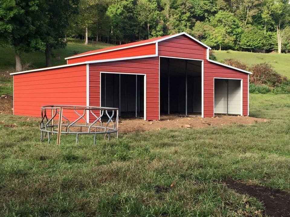 B02 36x25x129 Barn w/LeanTos Midwest Steel Carports