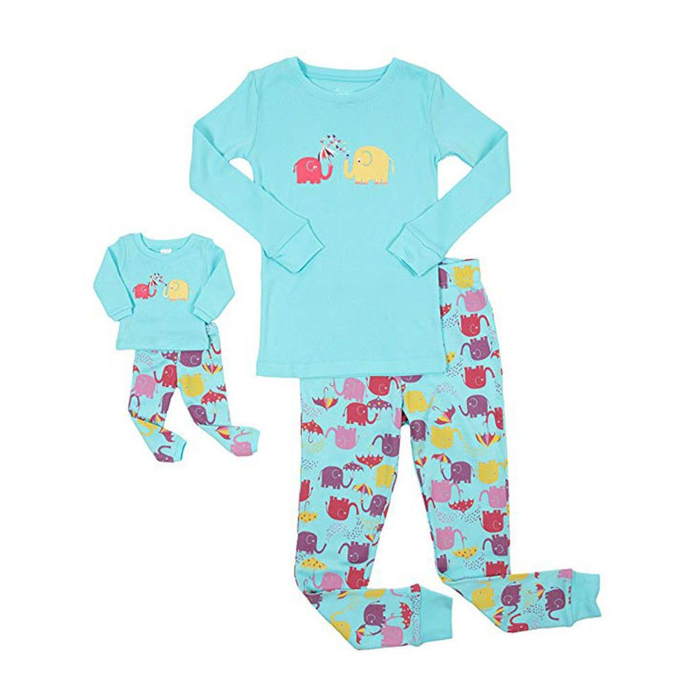 Doll /& Girls Pajamas Kids Baby Cartoon Tops Pants Family Sleepwear Matching Sets