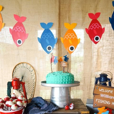 Fishing party garland fish on a rope party banner birthday for fishing party garland fish on a rope party banner birthday for tuck pinterest birthdays birthday party ideas and party invitations filmwisefo