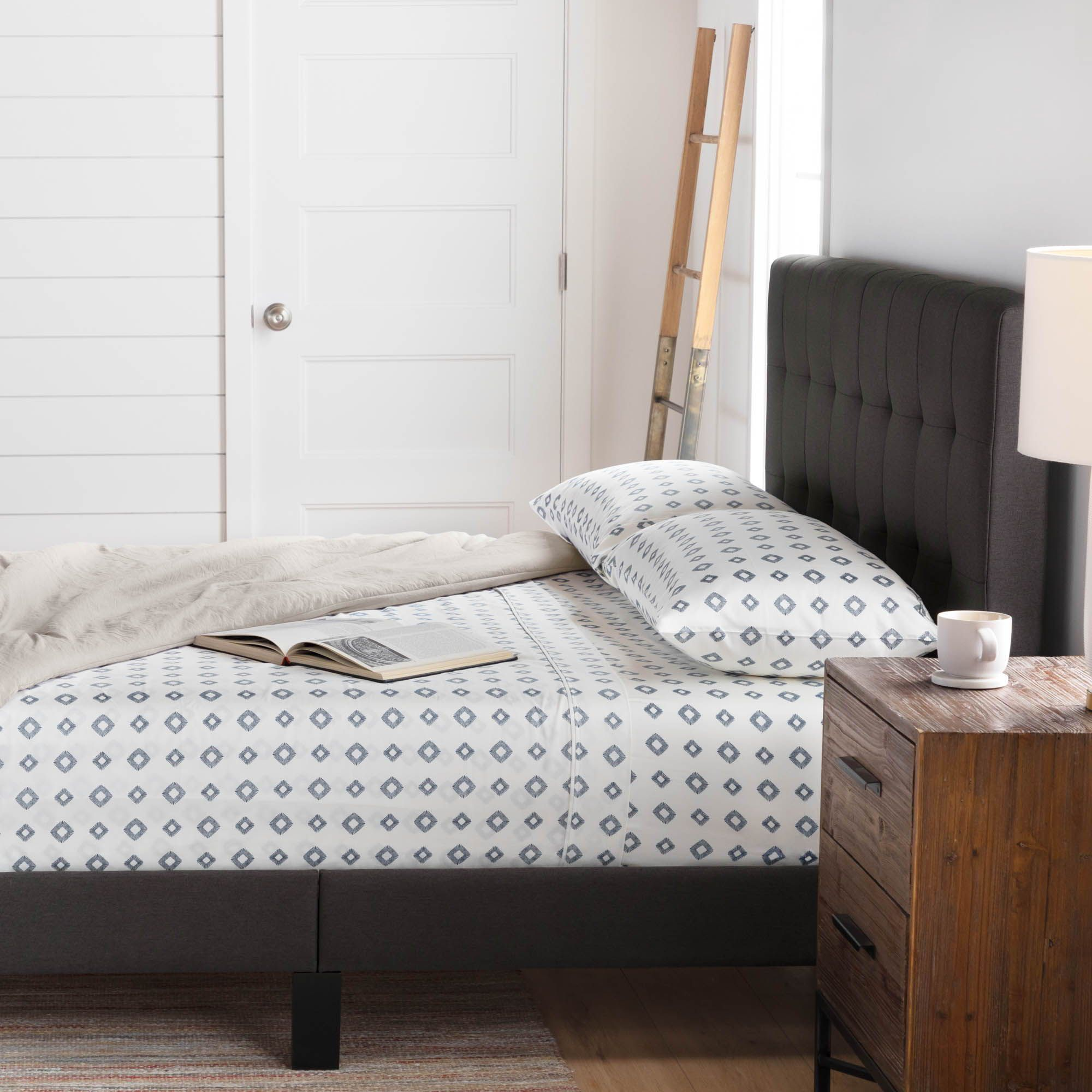 Brookside Cara Charcoal Upholstered Platform Bed With Headboard A Gorgeous Upholstered Fi With Images Queen