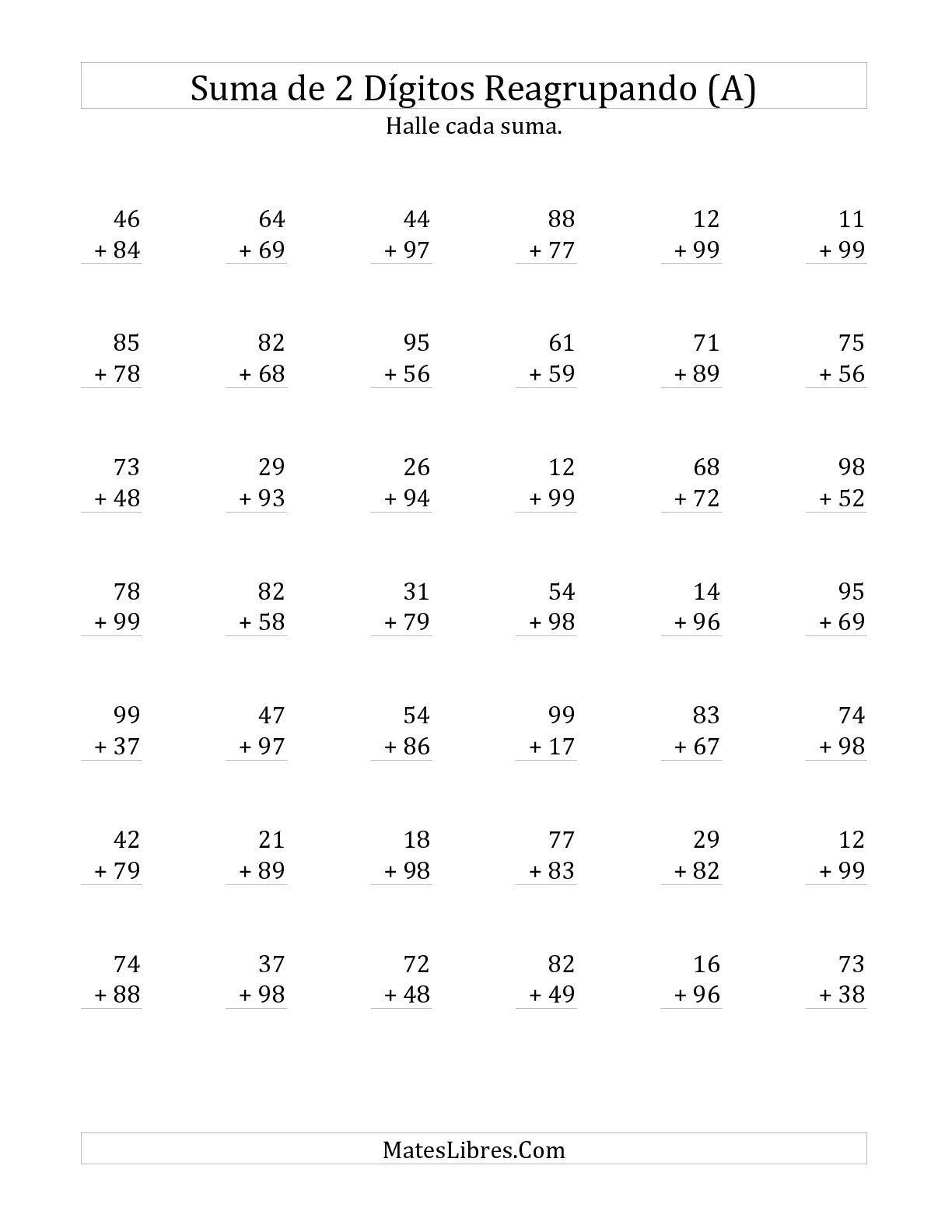 La hoja de ejercicios de Suma de Dos Dígitos Reagrupando Siempre (A ...