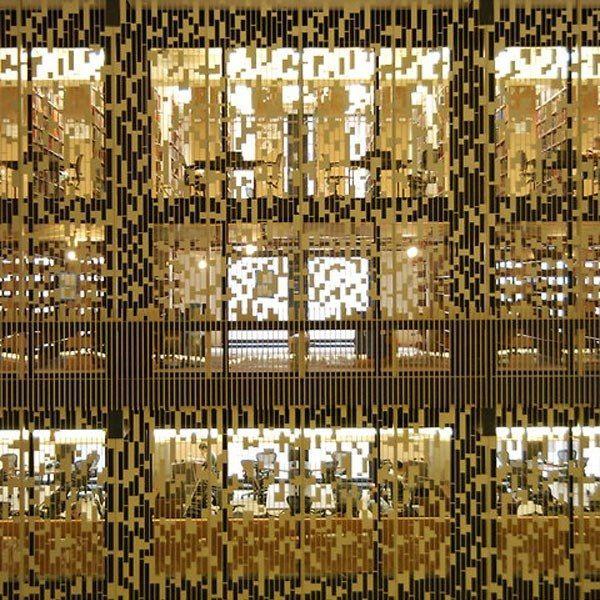 Interior wall treatment, NYU library printed screen.