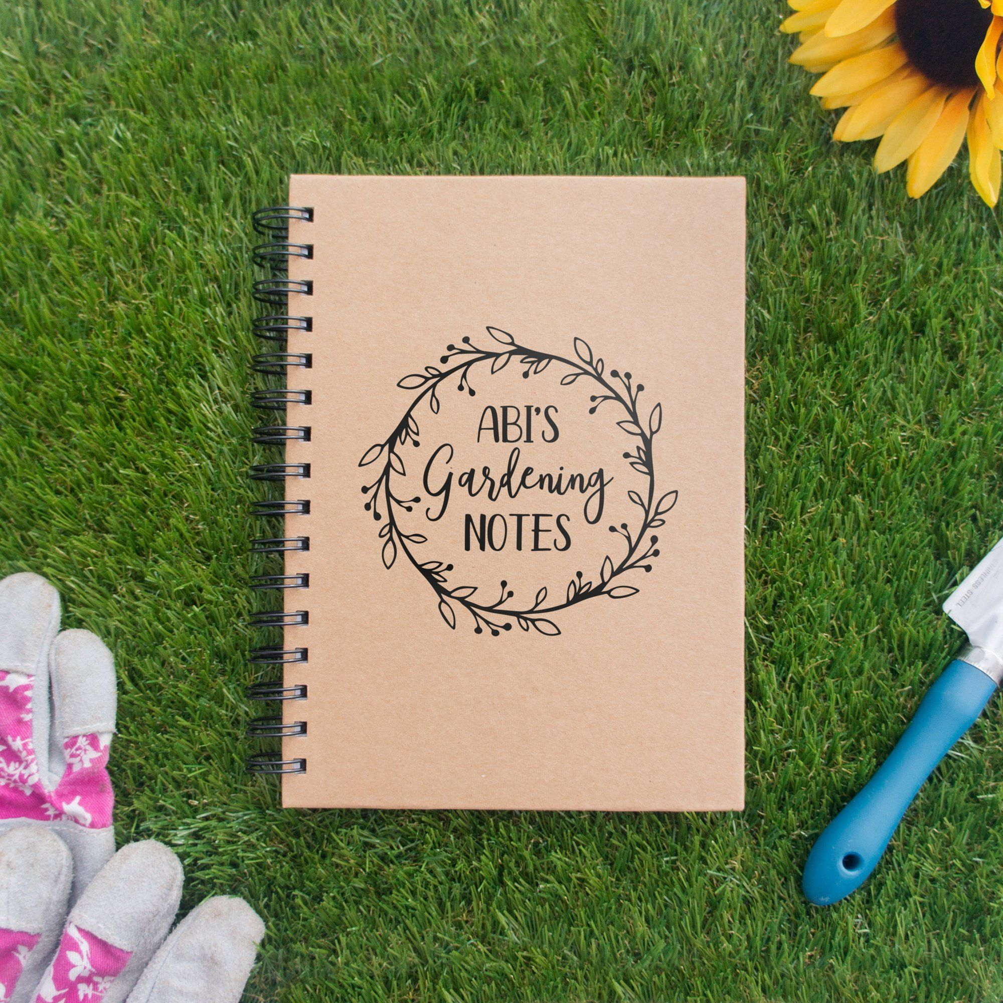 Gardening Gift For Mum Personalised Notebook For Garden Notes