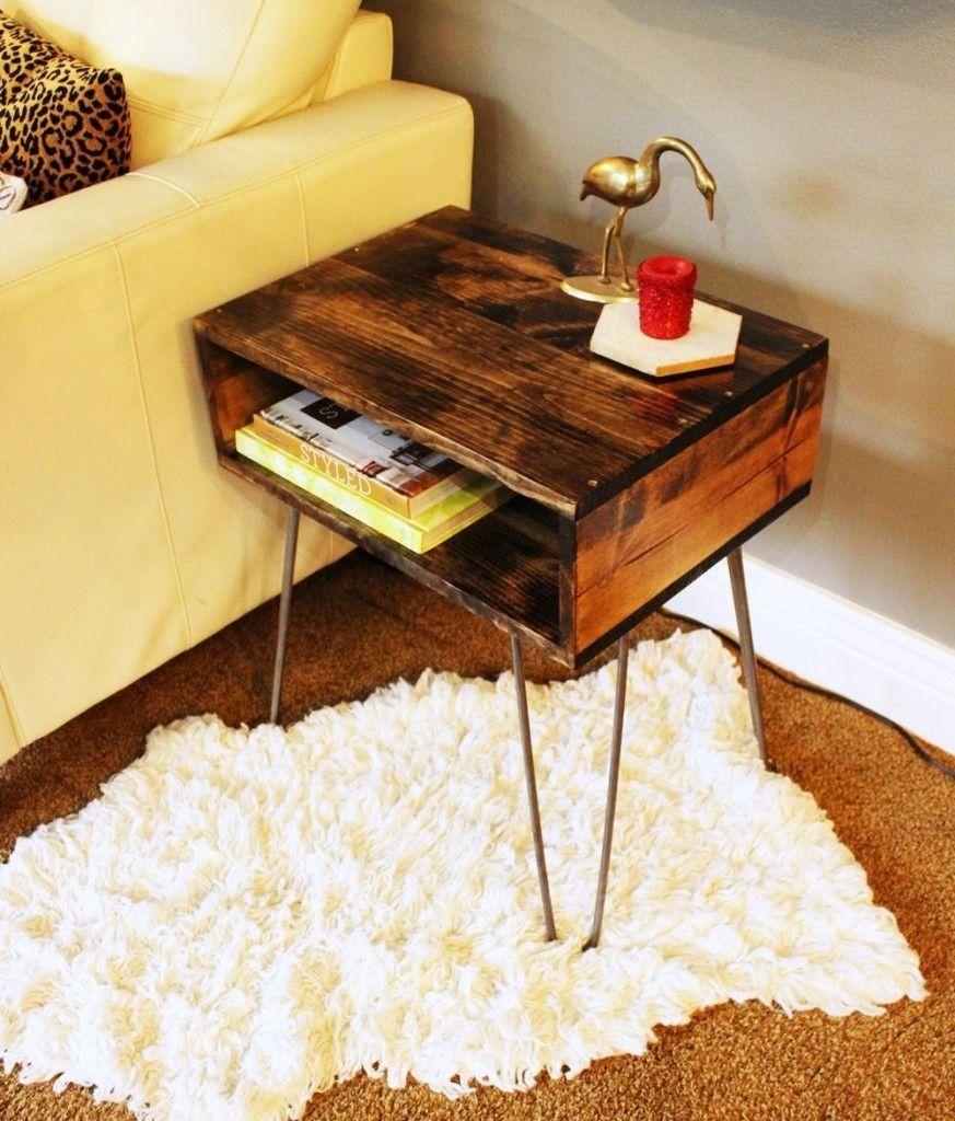 Diy Hairpin Leg Side Table Diy End Tables Sofa Table Design Driftwood Furniture
