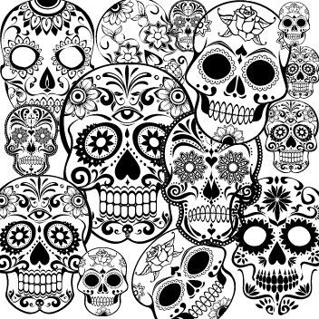 Day Of The Dead Dia De Los Muertos Sugar Skull Coloring Pages Colouring Adult