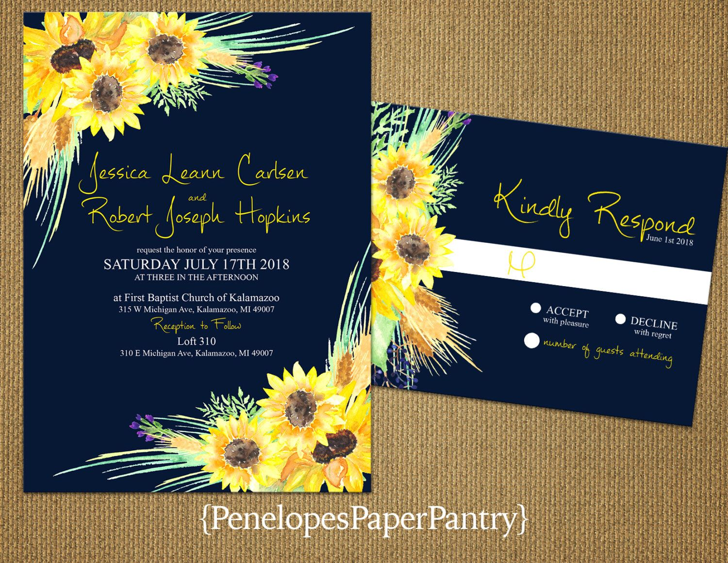Rustic Fall Wedding InvitationsSunflowers On A Navy BackgroundRomanticElegantTraditionalOpt RSVP CardCustomizable With White Envelopes By