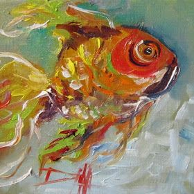 Painting of the Day, Daily Oil Paintings by Delilah: Goldfish,fish painting