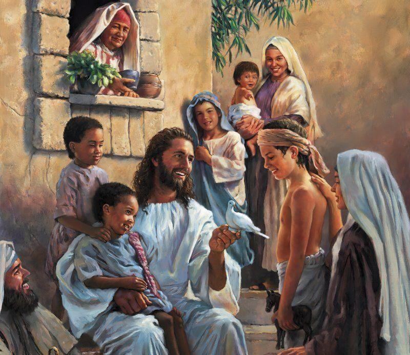 Jesus with children.  Come unto me as a child.