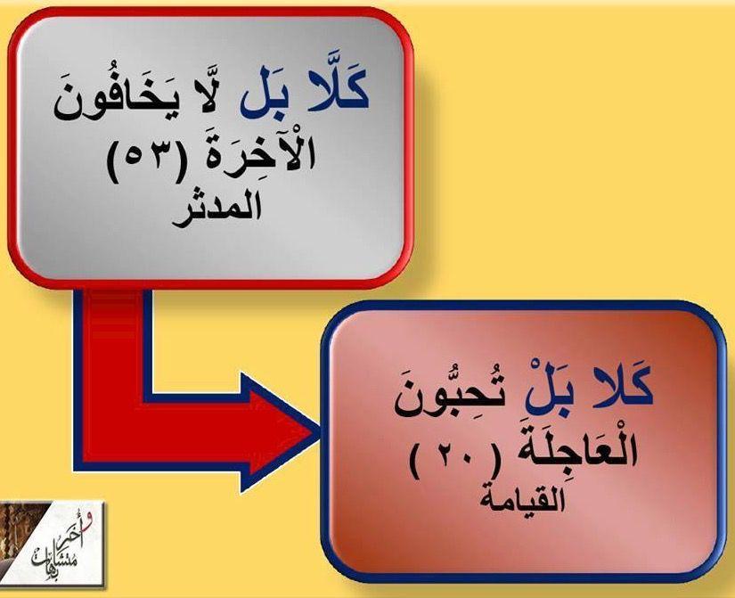 ك ل ا لم تنزل في اي سورة مدنية فأي سورة تجد فيها كلا هي سورة مكية وردت ٣٣ مرة في القرآن وفي النصف الثاني من القرآن فقط ولعل من أطر