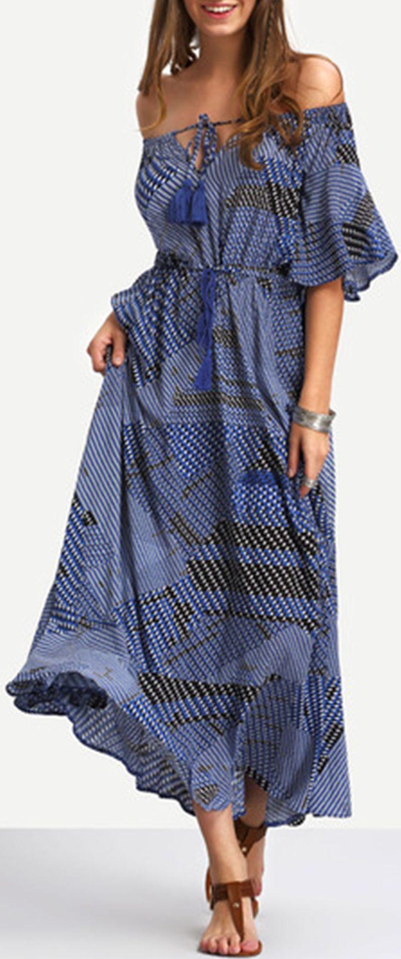 Off the shoulder tiewaist ruffle hem maxi dress maxi