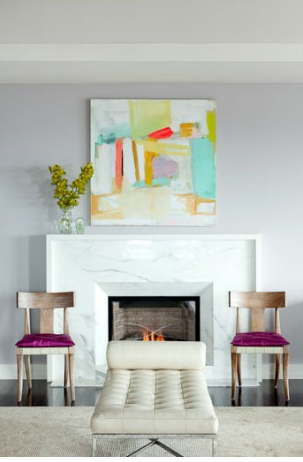 Marble Fireplace and art piece