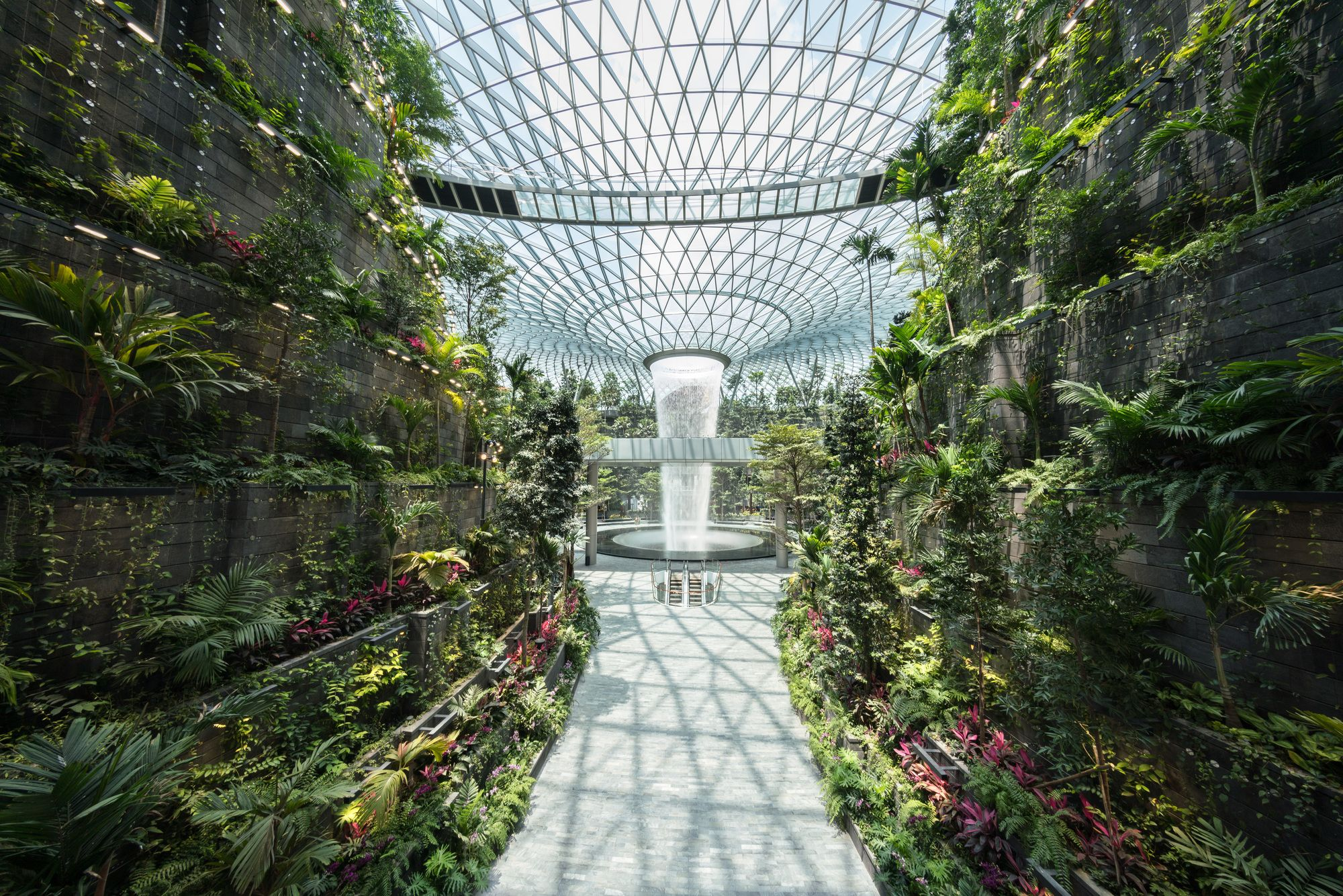 Safdie Completes World S Tallest Indoor Waterfall In Singapore