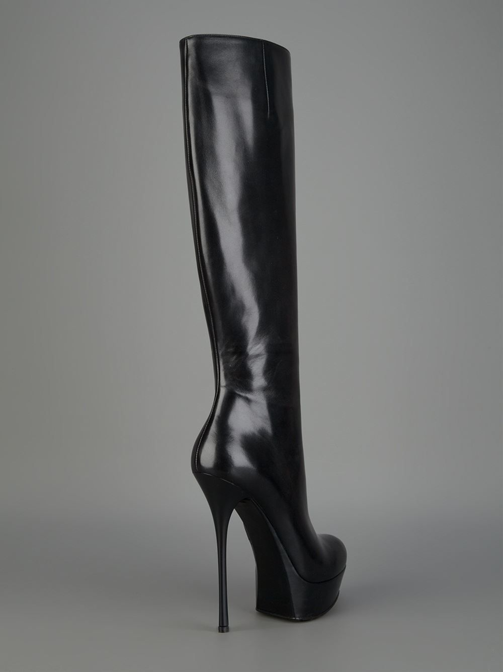 Gianmarco Lorenzi Style A3D7A1514 knee boot in black nappa leather with  almond toe 1434f1cc946a