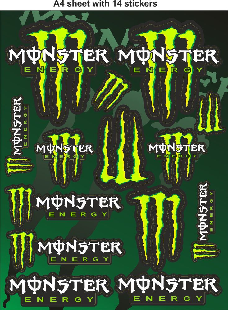 monster energy stickers race stickers decals helmet decal. Black Bedroom Furniture Sets. Home Design Ideas