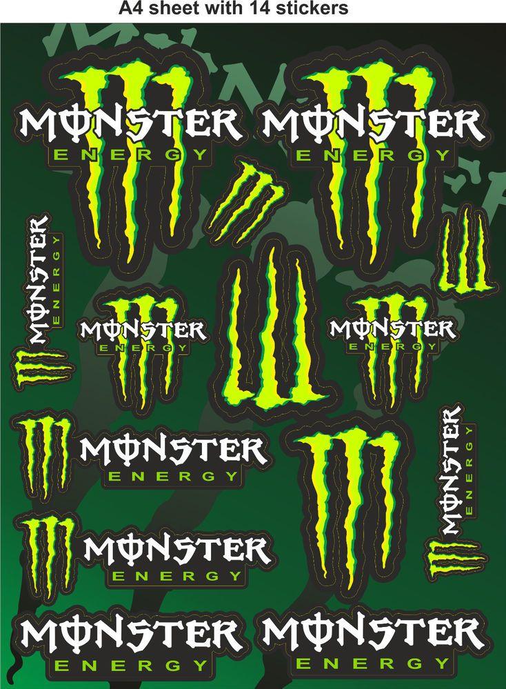 Monster Energy Stickersrace Stickers Decalshelmet Decal