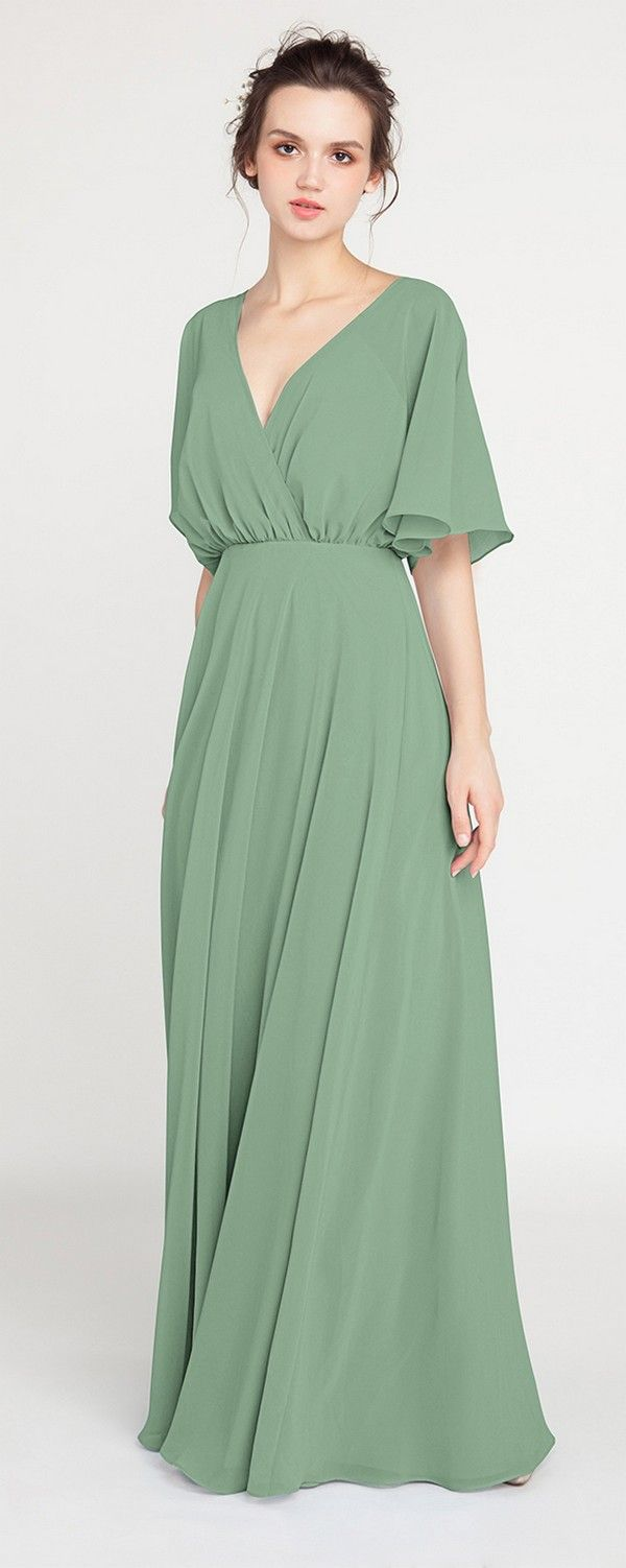 V-Neck Sleeved Long Moss Green Bridesmaid Dress with Open Back ...