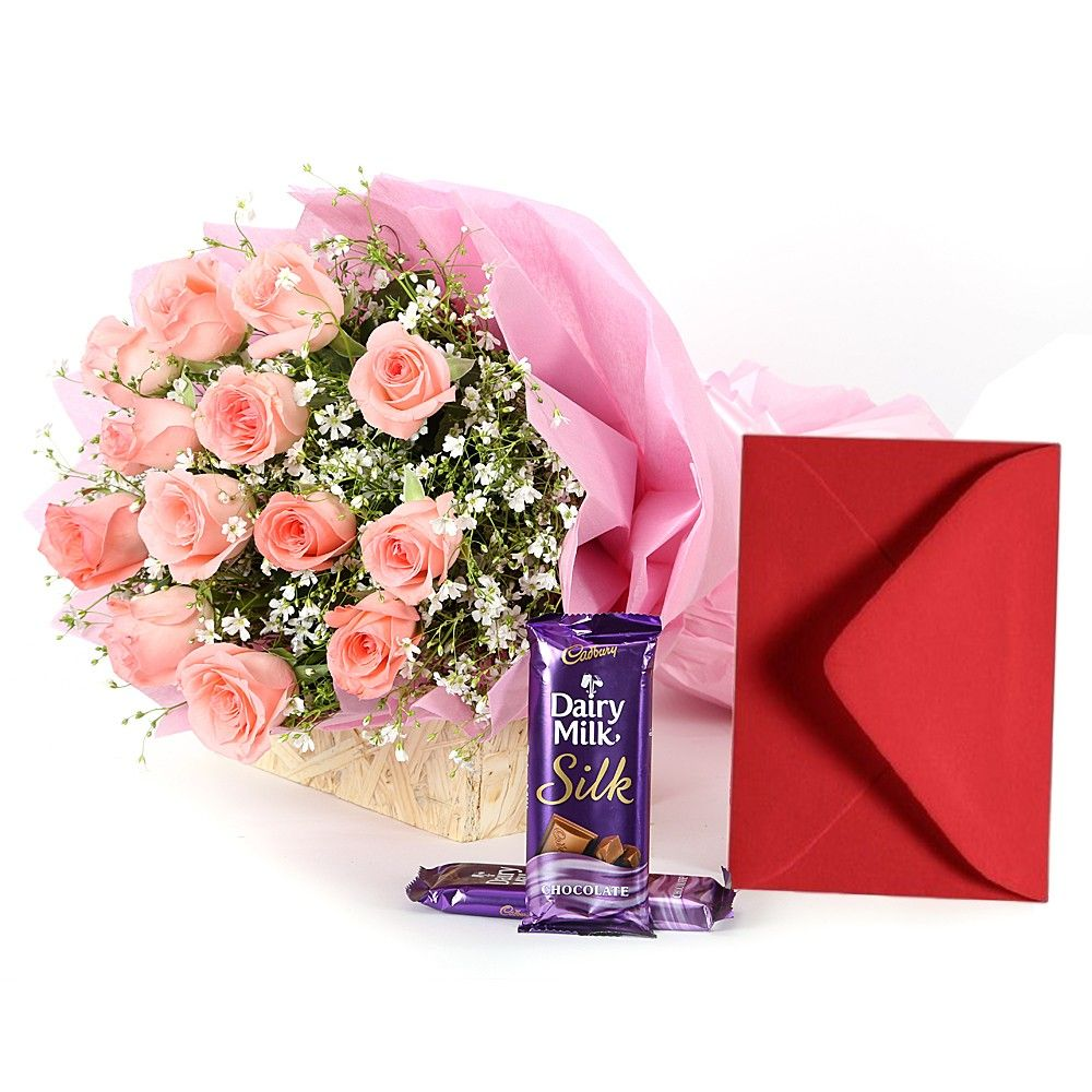 Check out our New Product  Exquisite Beauty - Rose Day No Flower COD Bunch of 13 pink roses with 2 silk chocolate and greeting card.  Rs.1,190
