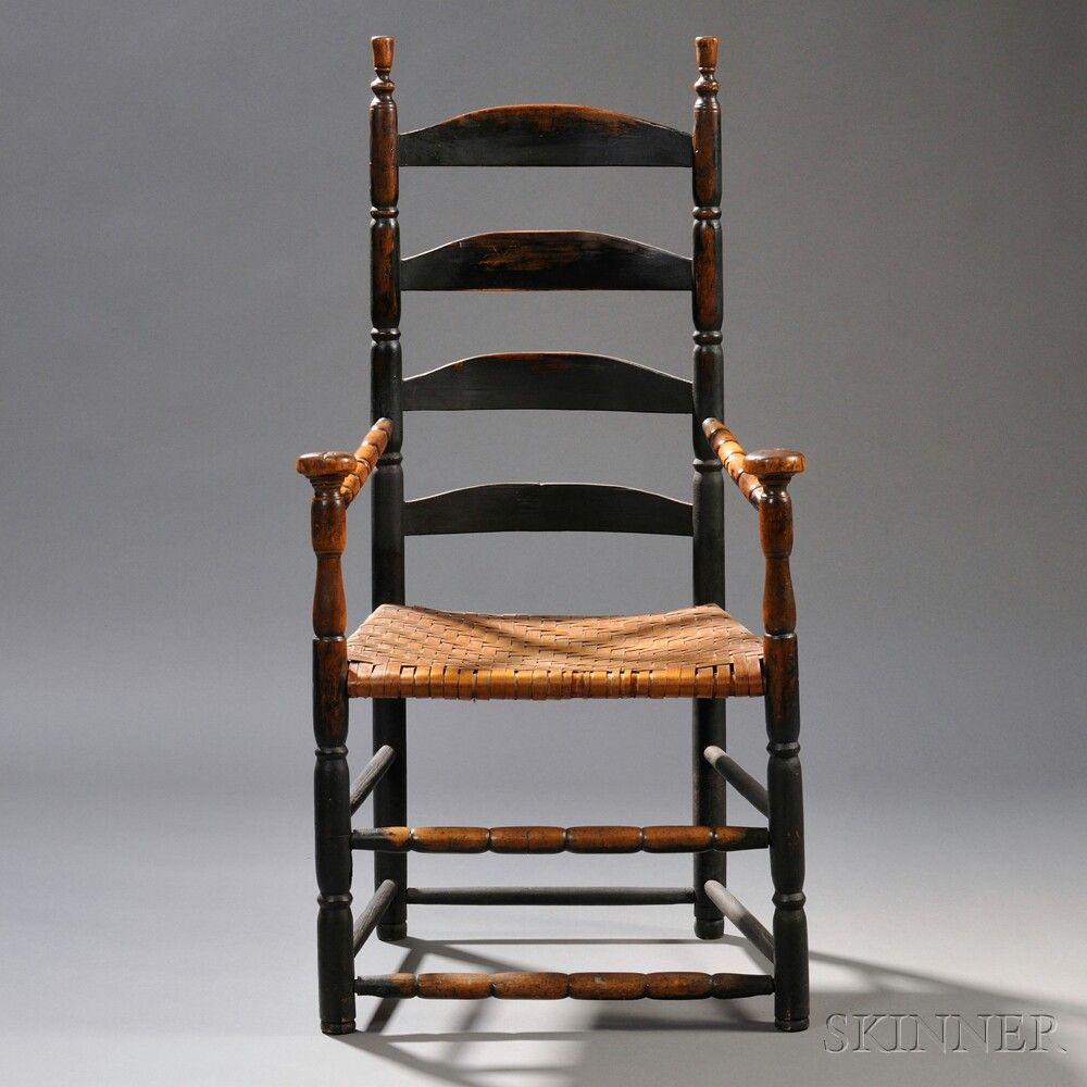 Black Painted Ladder Back Armchair Sale Number 2669m Lot Number