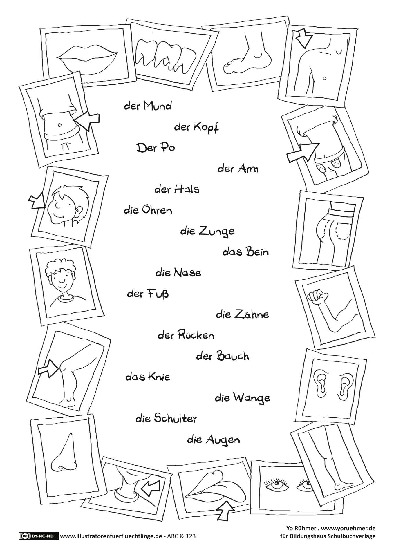 abc und 123 k rperteile r hmer daz pinterest k rperteile schule und deutsch. Black Bedroom Furniture Sets. Home Design Ideas