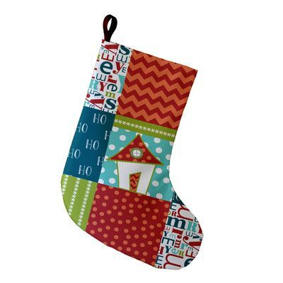 e by design coastal christmass merry christmass geometric print stocking color