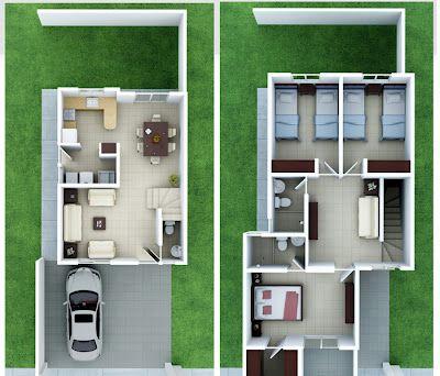 Casa de dos niveles, 7mts de frente Arquitectura Pinterest