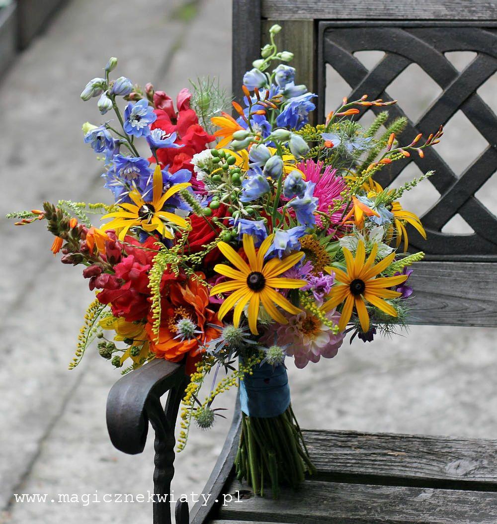 Bukiet Slubny Z Polnych Kwiatow Wildflower Wedding Wildflower Wedding Bouquet Neon Green Wedding