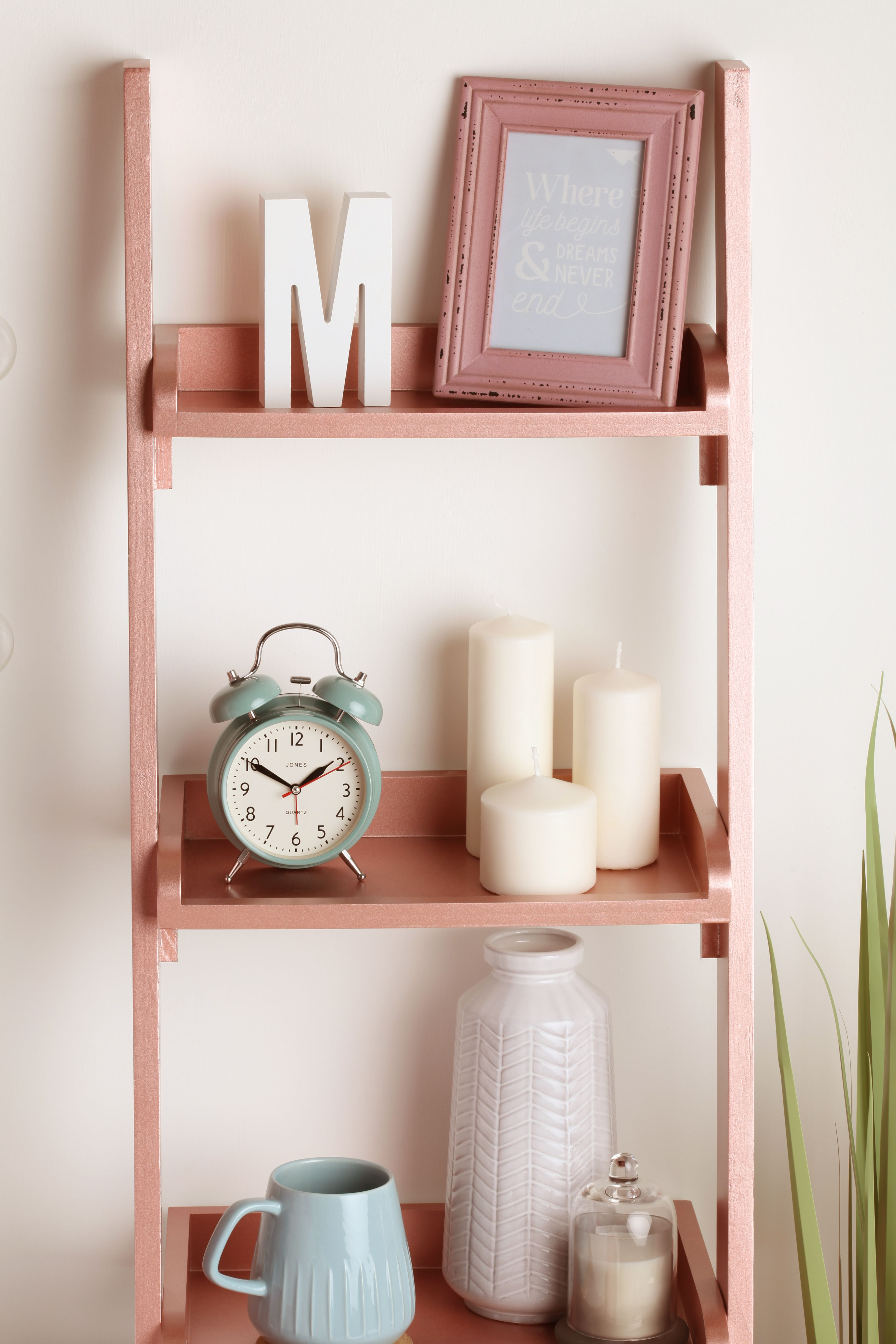 Furniture hack Cheap wooden ladder shelves sprayed with Rose Gold