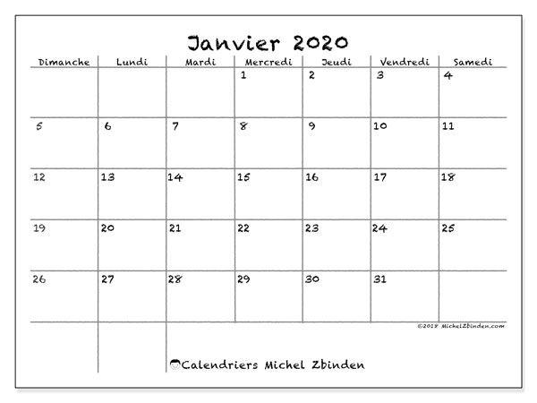 Calendrier janvier 2020   77DS | Calendrier janvier, Calendrier