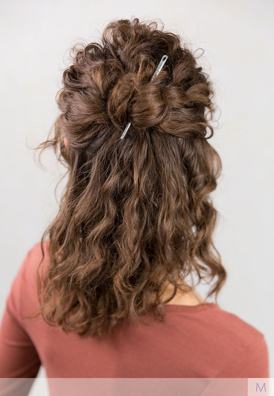 Quick and easy half up bun hairstyle for curly hair with ...