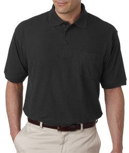 8544 UltraClubå¨ Adult Whisper Piqu̩ Polo with Pocket Black