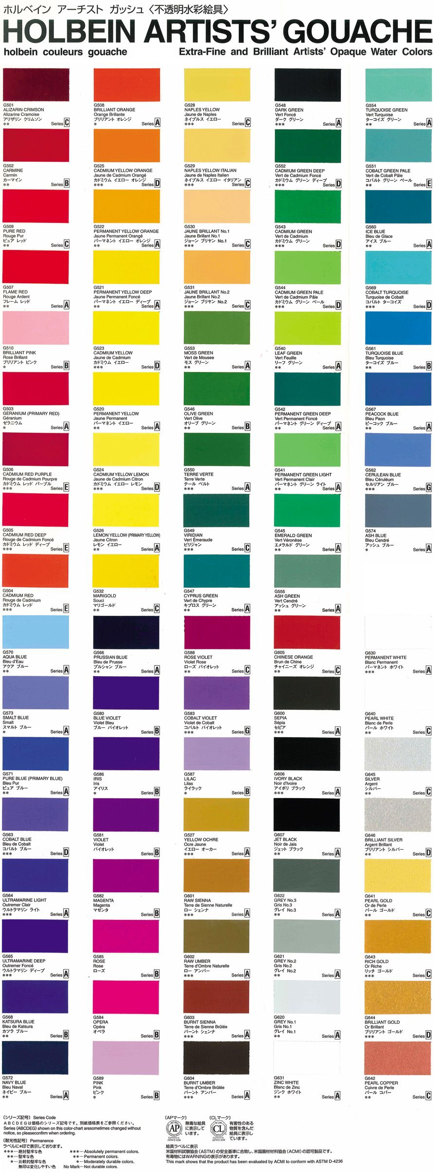 Holbein Gouache Designer Chart Recherche Google Coloured Pencils