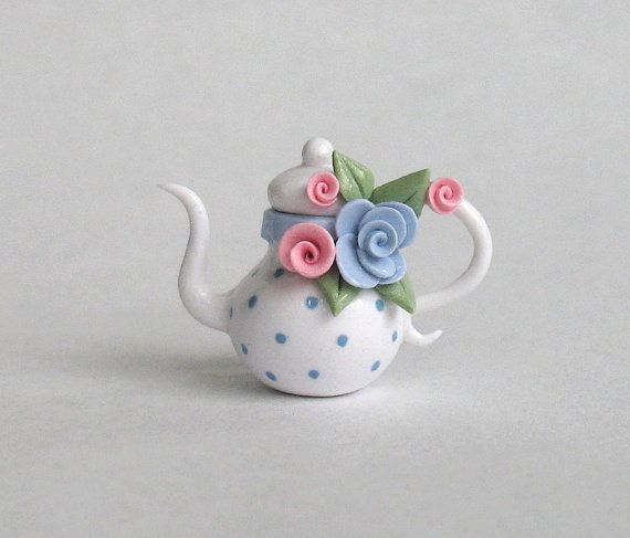 Miniature Polka Dots and Roses Teapot  OOAK by by ArtisticSpirit