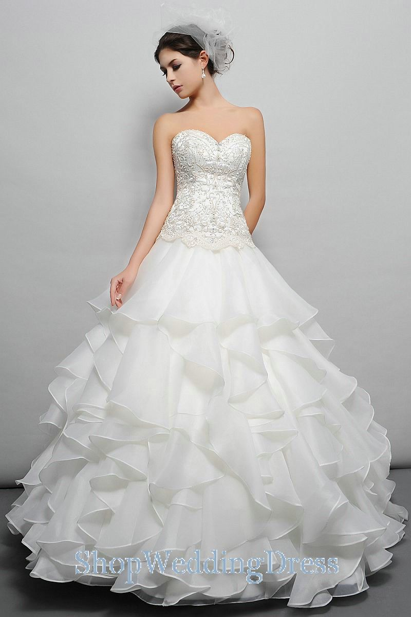 Ruffles Beading Embroidery Organza Tiered White Wedding Gowns ...