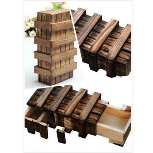 Details About Magic Vintage Wooden Puzzle Box With Secret Drawer