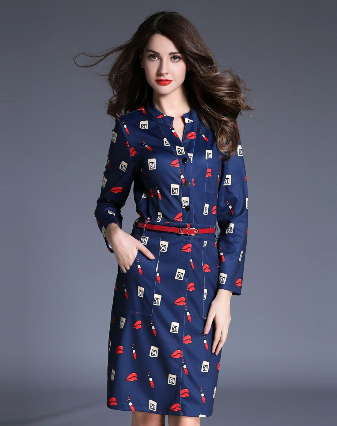 #AdoreWe FWAYSBY Printed Long Sleeve Snap Button Belted Sheath Midi Dress - AdoreWe.com