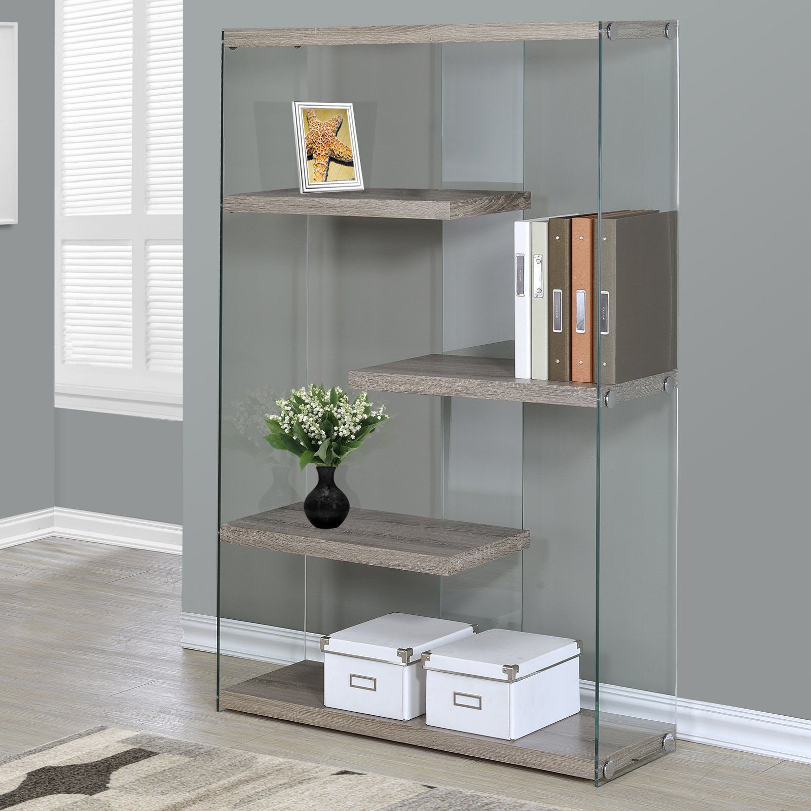 Monarch 60 In Bookcase With Tempered Glass Glass Bookcase