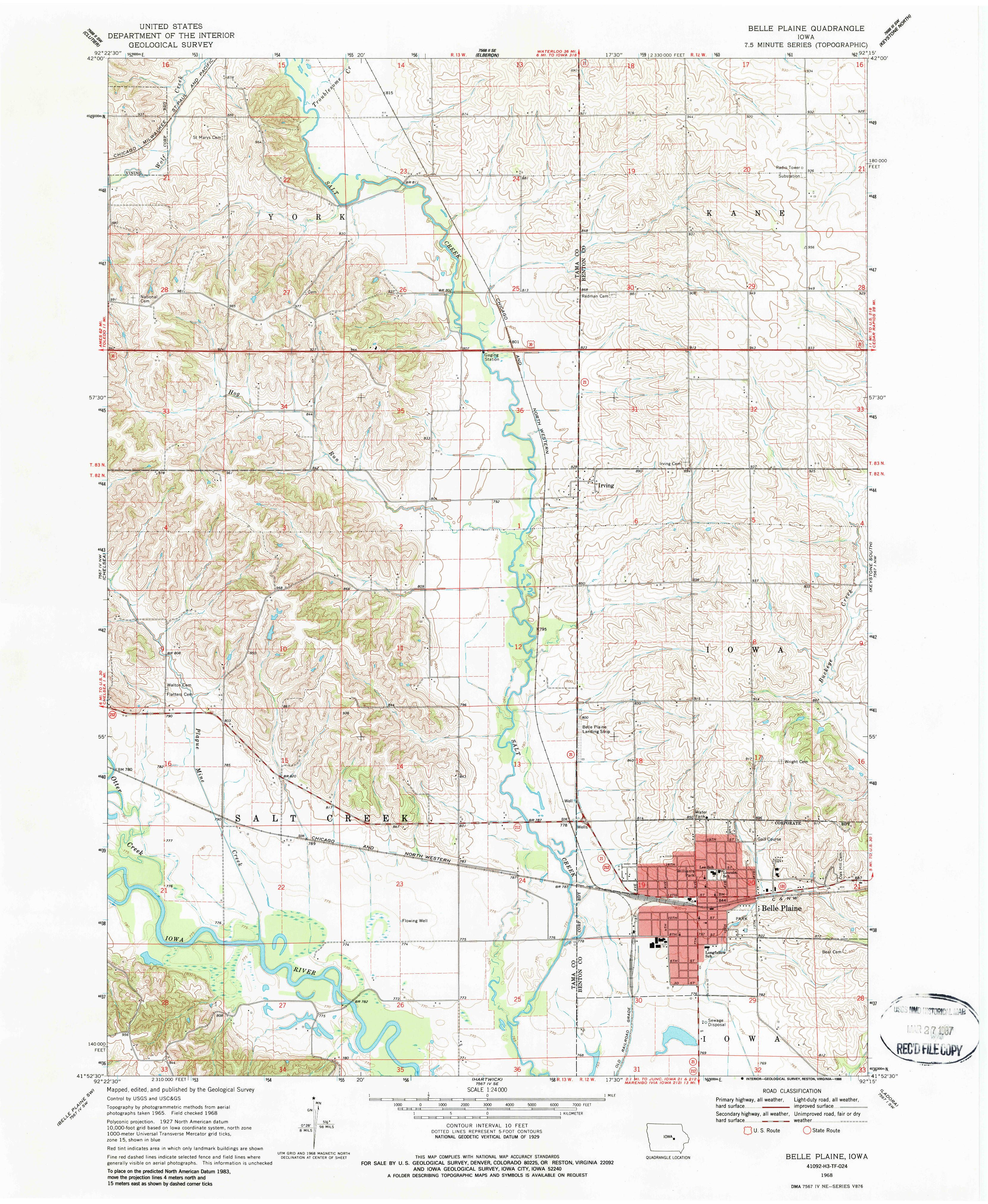 Belle Plaine IA Map From The USGS Historical Topographic Map - Topographic map free download